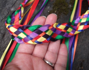 Wedding Handfasting Cord - Multi cord Ceremony Loose End Rainbow Ribbons 7 different colors in one cord