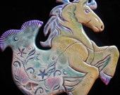 Ceramic  Hippocampus Sea Horse  wall hanging for home or garden