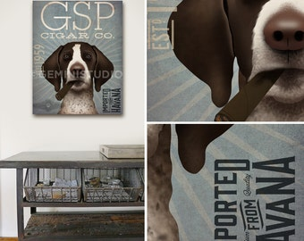 German Shorthaired Pointer GSP Dog cigar company artwork on gallery wrapped canvas by Stephen Fowler Pick Your Breed