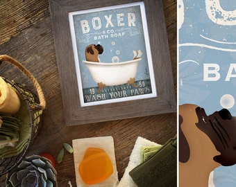 Boxer dog bath soap Company vintage style artwork by Stephen Fowler Giclee Signed Print UNFRAMED