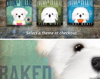 Coton de Tulear dog coffee wine or cupcake company style artwork on gallery wrapped canvas by stephen fowler