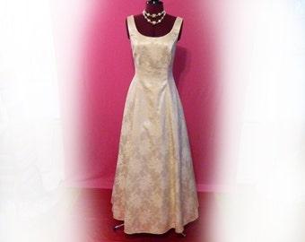 Vintage Gunne Sax Wedding or Special Occasion Dress, Designer Jessica McClintock, 90s Formal Long Dress, Satin Brocade: Small
