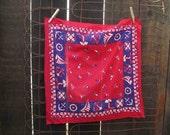 Sailor Bandana 70s Vintage Red Bandana Anchors Boats RWB 100% cotton Bandana red Kerchief