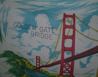 Vintage San Francisco scarf Golden Gate Souvenir scarf vintage 60s Rayon scarf Fishermans Wharf Chinatown red and white 60s tourist scarf