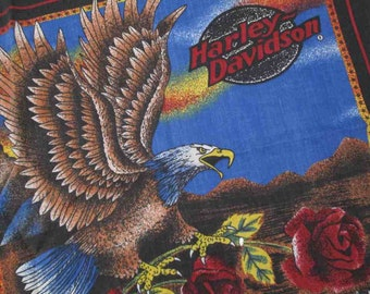 Harley Davidson Vintage Bandana Biker Licensed HD bandana Red Roses scarf Eagle 90s Bandana made in USA vintage red Kerchief