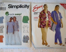 Set of 2 Sewing Patterns for Scrub Tops, Jackets and Pants - Plus Sizes - Never Used - Great Style Varieties in Multiple Sizes
