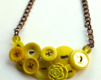 Christmas in July Sale Button Necklace Shades of Yellow Vintage Button Necklace
