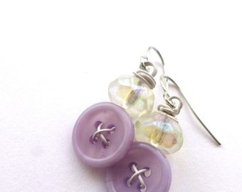 Christmas in July Sale Lavender and White Vintage Button Dangle Earrings