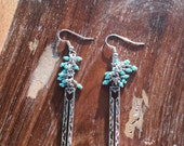 Turquoise Earrings, Arrow Earrings, Boho Earrings, Southwestern Jewelry, Silver Dangle Earrings with Turquiose Accents and Arrows