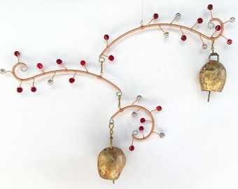 Red and Silver Pearl. Small Cherry Blossom Mobile with Bells