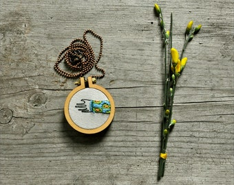 mixed media wearable hoop art - To Give a Hand necklace