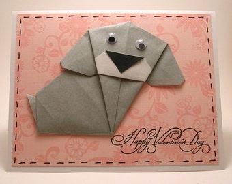 Origami Dog Valentine Card (grey)