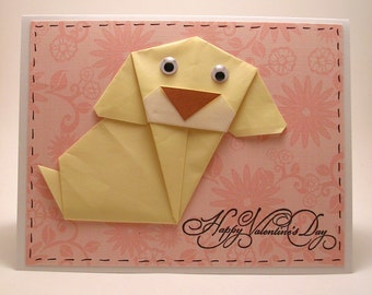 Origami Dog Valentine Card (yellow)