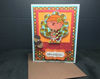 Handmade Thanksgiving Turkey Greeting Card Fall Hot Cocoa with Scarf Hat Sunflower Acorn
