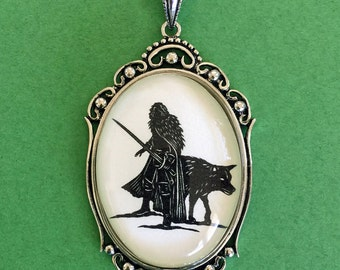 Sale 20% Off // Game of Thrones, Jon Snow Necklace - pendant on chain - Silhouette Jewelry // Coupon Code SALE20