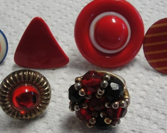 Six Red Adjustable Rings