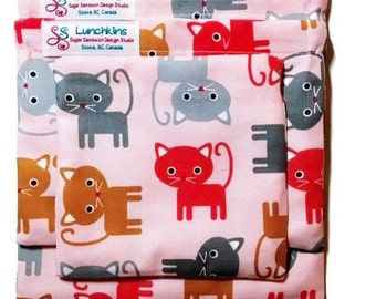 Snack Bags  Kitty Cat Boy or Girl Colours Re-Usable