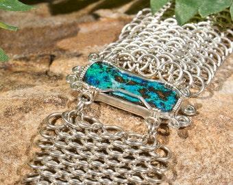 Beautiful, Heavy Australian Opal Chain Maille Bracelet - Sterling