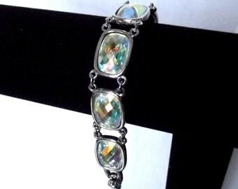 Swarovski Swan Stamp Bracelet Small Wrist AB Crystals Double Link Silver Crystal Clasp Cushion Cut Modern