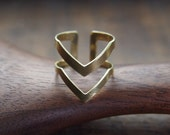 Brass ring modern chevron // modern minimal design// adjustable // R002