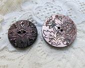 Two Antique Abalone Shell Buttons, Purple Plum ... Engraved Flower & Carved Art Deco... 2 Vintage Dark Mother of Pearl, MOP Buttons