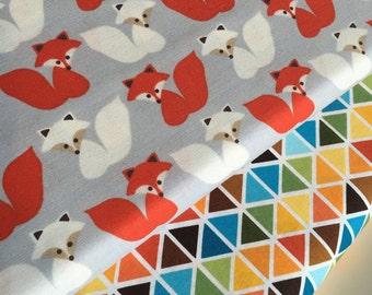 Fox fabric, Boy fabric, Nursery fabric, Childrens fabric, Woodland Pals by Ann Kelle for Robert Kaufman, Bundle of 2- Choose the Cut