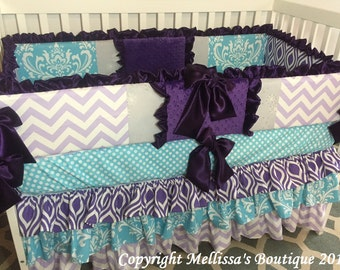 Custom 3 Tier Ruffled Purple Lavender & Aqua Damask and Chevron Boutique Complete Crib Bedding Set CUSTOMIZE YOUR OWN