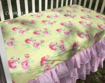 Shabby Chic Pink & Yellow Vintage Roses Scalloped Eyelet Ruffled 3 Tier Crib Rail Cover Boutique Crib Bedding Set READ TO SHIP