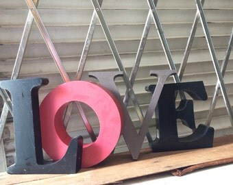 L O V E... 4 letters ~ home upcycled reuse industrial metal sign ~ wall decor ~ steampunk design ~ rare find ~ display