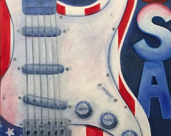 Aceo Tiny Art Born in the USA Red White Blue Fender by RSalcedo FFAW free US Shipping