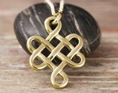 Gold endless knot pendant in 10kt 14kt 18kt yellow gold, rose gold or white gold - celtic knot, tibetain knot,