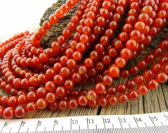 6mm Fire Agate Beads, Red Agate beads, Cracked Agate Round Beads, Deep Red Crackled, Rustic Earthy colors