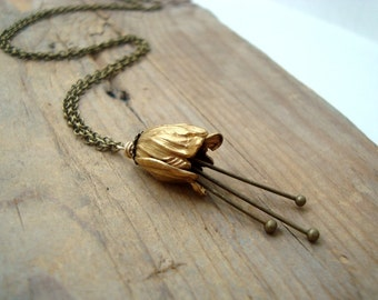 Small Brass Tulip Necklace Bridal Jewelry Flower Jewelry Vintage Style Holiday Floral Necklace Bridesmaid Necklace Gifts Under 40
