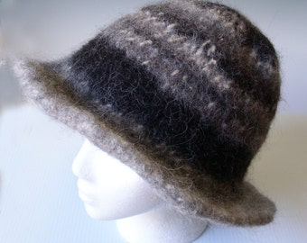 ELEGANCE in BLACK and Gray Grey - Woman's   Elegant Wide Floppy brimmed hat - 100%  ALPACA - handspun, hand knit,  hand felted.
