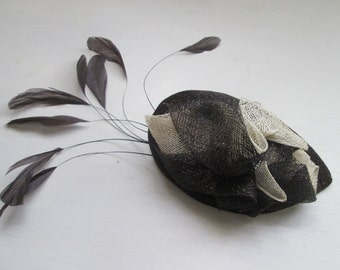 New handmade brown and ivory feather fascinator