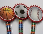 Ball SPORTS party favor decorations - Soccer, Baseball, Basketball - birthday decorations - party favors - candy sticks -  set of 12