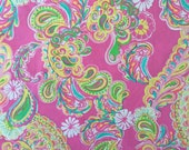 "lilly pulitzer's double trouble allover print poplin cotton fabric square 15""x15"""