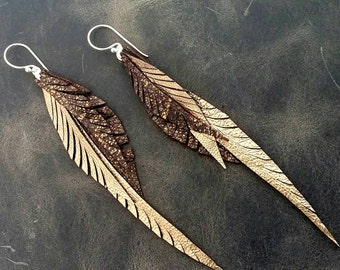 Gold Leather Feather Earrings with Sterling Silver Hooks and Rings