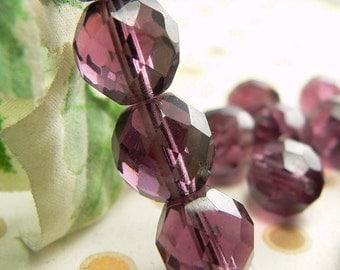 Amethyst Czech Glass Round Beads Purple 10mm Firepolished (35)