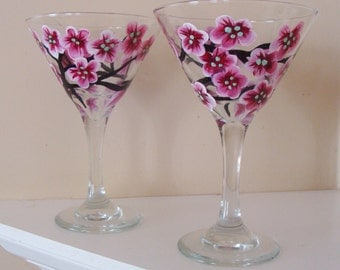 Cherry Blossom Martini Glasses , Pink Blossoms, Dining, Pretty, Hand Painted, Art