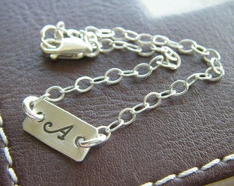 """Custom Initial Bracelet - Personalized Sterling Silver Hand Stamped Charm Jewelry - 1/2"""" Bar Bracelet with Optional Birthstone or Pearl"""