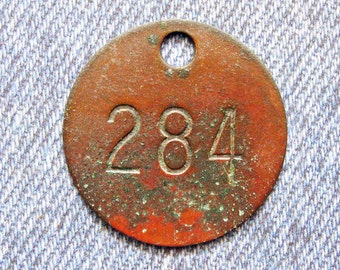 Miners Brass Tag Number 284 Antique Coal Mining Tool Id Check Numbered Fob Keychain Token Rustic Relic for Repurpose