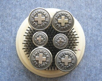 Uniform Button Lot Antique American Red Cross WWI WWII White Brass Metal Shank Buttons Waterbury Conn. Military Hardware Findings