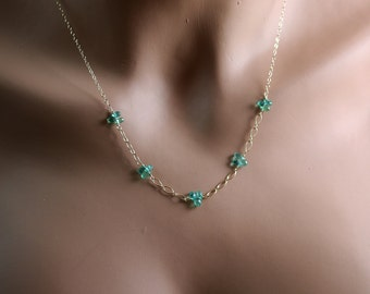 Natural Emerald Necklace - Briolette Trios - Emerald Necklace - 14k Gold Chain