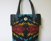 Fringed Bucket Bag Purse Tote Bag Wool from Pendleton Oregon Black Leather 5 Pockets Native American Print