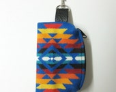 Wool Belt Loop Pouch Hip Bag Accessory Essentials Case Unisex Sapphire Blue Southwest Style