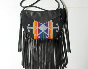 Long Fringed Cross Body Bag Purse Shoulder Black Deer Leather Southwest Style Tribal Inspired Messenger