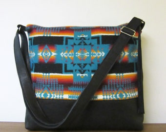 Cross Body Bag Messenger Shoulder Bag Purse Black Leather Adjustable Strap Native American Blanket Wool from Pendleton Oregon