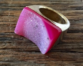 Dara Ettinger ABBY Druzy Ring in Pink/Gold sz 7