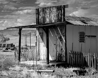 Wild West Art, Western Decor, Utah Desert Photography, Ghost Town, Abandoned Building, Gritty Black and White Photography, Southwest Art